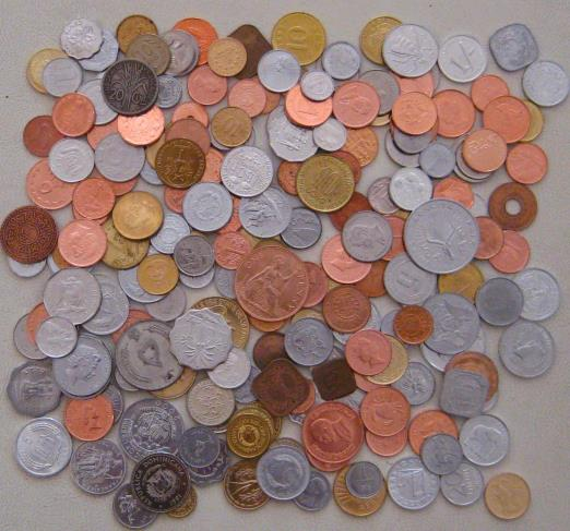 200 world coins from almost 200 different places.