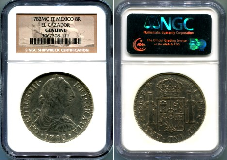 NGC Certified Mexico City Mint 8 Reales from the wreck of El Cazador