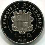 obverse of Andorra 1 Dinar coins shows Andorra coat-of-arms
