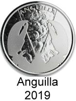 Anguilla 1 troy oz. silver 2 Dollar coins 2019 depicting a lobster