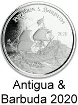 Antigua 1 troy oz. silver 2 Dollar coins 2020 depicting pirate ship
