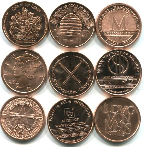 Mulligan Mint - American Open Currency Standard (AOCS) 1 ounce copper medallions