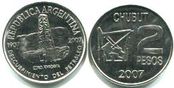 Argentina 2 Pesos 2007 100th Anniversary of the discovery of oil
