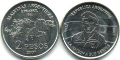 Argentina 2 Peso 2007 25th Anniversay of the Malvinas (Falklands) War