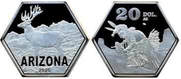 Arizona 20 Dollars 2020 coin depicting American Indians