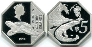 Pièce de 5 Dollar des îles Ashmore et Cartier, 2019