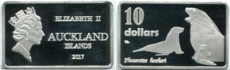 Auckland Islands 10 Dollars 2017 rectangular coin