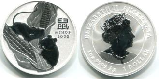 Australia 1 Dollar 2020 Year of the Mouse, 1 troy ounce .9999 fine silver