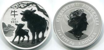 Australia 1 Dollar 2021 Year of the Ox 1 troy ounce silver