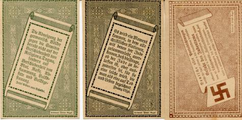 Amstetten, Austria 10, 20 & 50 Heller, 1920 Anti-semitic notgeld notes - backs