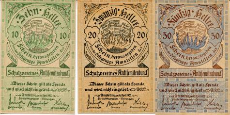 Amstetten, Austria 10, 20 & 50 Heller, 1920 Anti-semitic notgeld notes - fronts