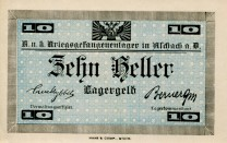 Austria Aschach Prisoner of War Camp 10 Heller note (circa 1916)