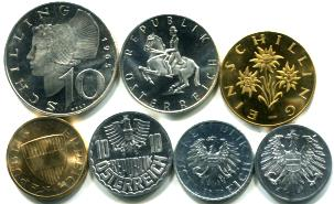 Austria 1965 seven coin Proof set
