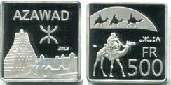 Azawad 500 Francs 2018 coin depicts camesl