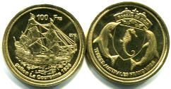Bassas da India 100 Franc coin, 2012 pictures sailing ship La Couronne