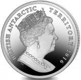 Common obverse of British Antarctic Territory 2 Pounds 2016 coins depicts Queen Elizabeth
