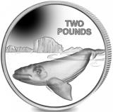 British Antarctic Territory 2 Pounds 2017 Southern Right Whale, copper-nickel