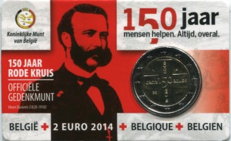 Belgium 2 Euros 2014 150th Anniversary of Red Cross in coin card