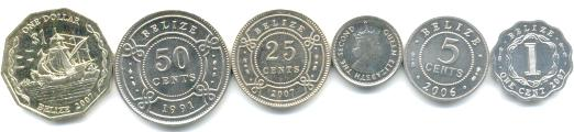 Belize 6 coin set: 1 Cent - 1 Dollar