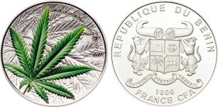 Benin 1000 Francs 2016 Cannabis Sativa, concave high relief 31.1 grams .999 fine silver