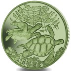 BRITISH INDIAN OCEAN TERRITORY 2 POUNDS 2017 GREEN TURTLE - GREEN TITANIUM