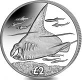British Indian Ocean Territory 2 Pounds 2018 cupro-nickel Manta Ray