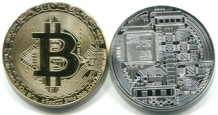 """Gold"" and ""silver"" bitcoin medallions"