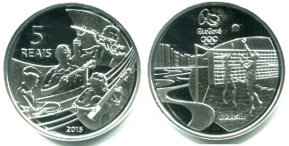Brazil silver 5 Reais 2015 Olympic Beach Volleyball/Band