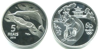 Brazil silver 5 Reais 2014 Olympic cycling / Dolphin