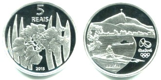 Brazil silver 5 Reais 2015 Olympic Rowing/Orchards