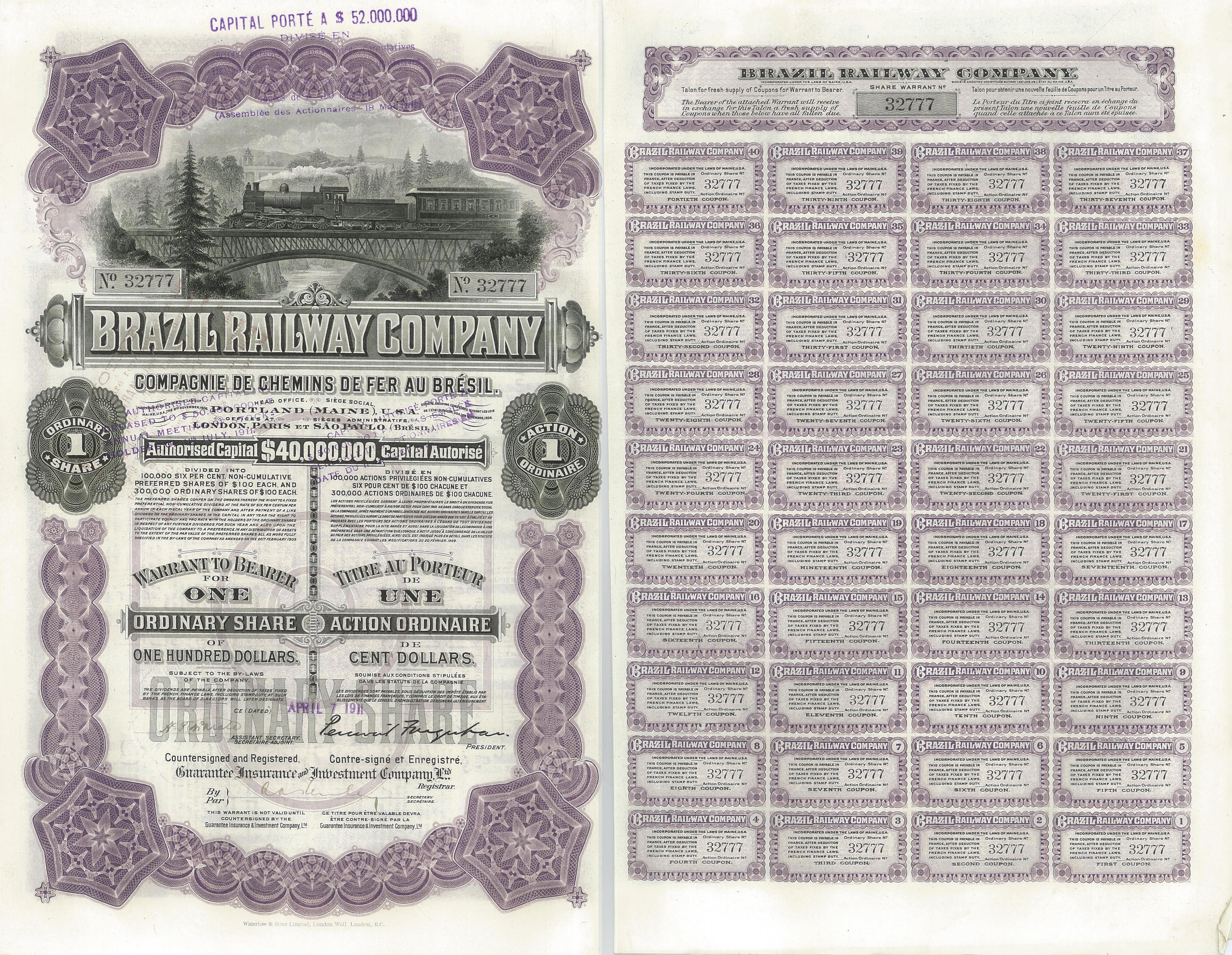 West Shore Railroad Company Bond Stock Certificate New York Central