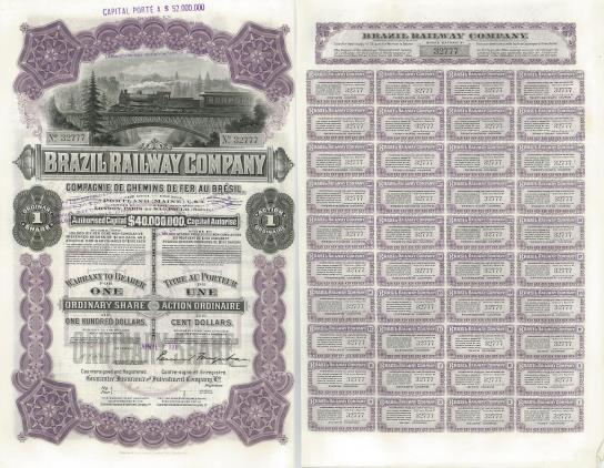 Brazil Railway Company 1 Ordinary Share certificate, 1911