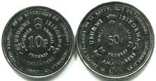Obverse of Burundi 2011 10 and 50 Franc coins