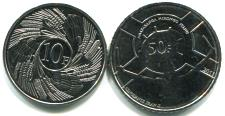 Reverses of Burundi 2011 10 and 50 Franc coins
