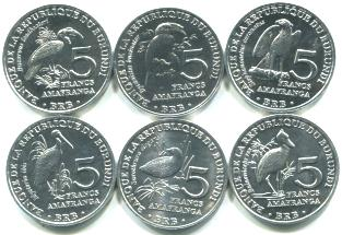 Burundi 5 Franc bird coin set