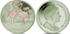 British Virgin Islands 5 Dollars 2021 bi-color titanium Flamingos