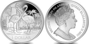 British Virgin Islands 1 Dollar 2021 copper-nickel Flamingos