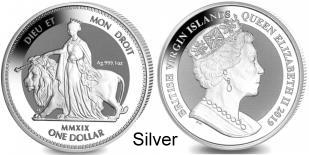 British Virgin Is. 1 Dollar 2019 Una and the lion, 1 troy ounce .999 silver coin