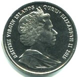 Obverse of 2015 British Virgin Islands coins features Queen Elizabeth II