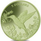 British Virgin Islands 5 Dollars 2017 Hummingbird struck in green titanium