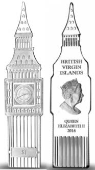 British Virgin Islands 1 Dollar coin 2016 shaped like Big Ben clock tower