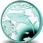 British Virgin Islands 5 Dollars 2016 Great White Shark turquoise titanium coin