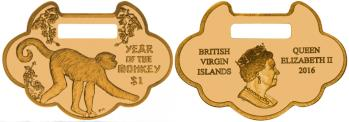 British Virgin Islands 1 Dollar 2016 bronze lock charm shaped coin for Year of the Monkey