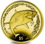 British Virgin Islands 5 Dollars 2016 Lemon Shark yellow titanium coin