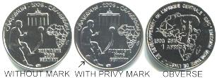 Cameroon 1500 Francs Germany Soccer commemorative varities