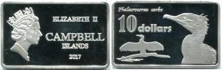 Campbell Islands 10 Dollars 2017 rectangular coin