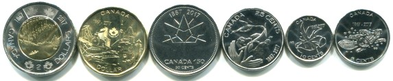 Canada 2017 150th anniversary 6 coin set, 5 cents - 2 Dollars