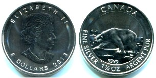 Canada 8 Dollars 2013 Polar Bear, 1.5 troy ounce .9999 file silver