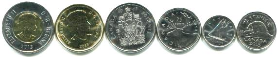 Canada 2013 regular issue coin set