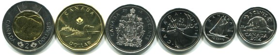 Canada 2014 6 coin set: 5 cents - 2 Dollars